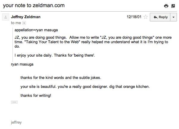 Zeldman email response